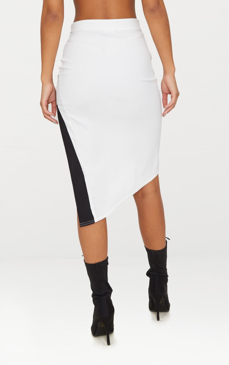 Cream Contrast Stripe Hem Thigh Split Skirt 4