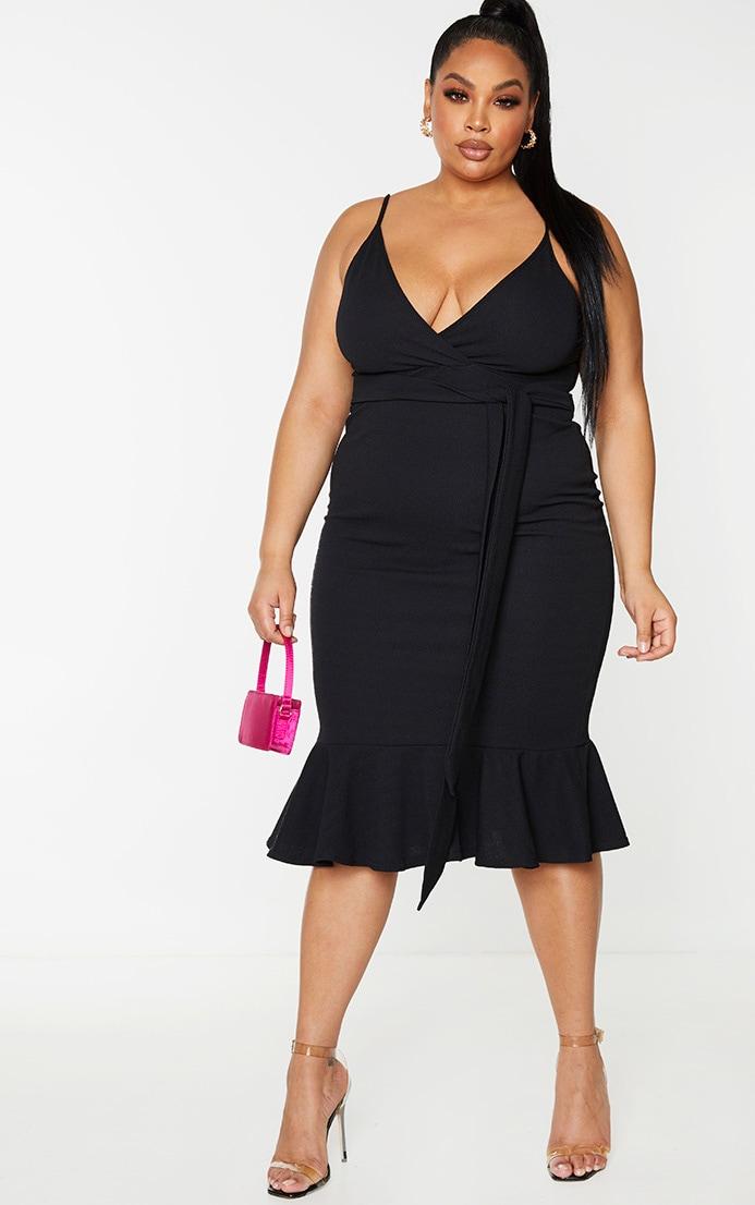Plus Black Strappy Tie Waist Fishtail Midi Dress 1