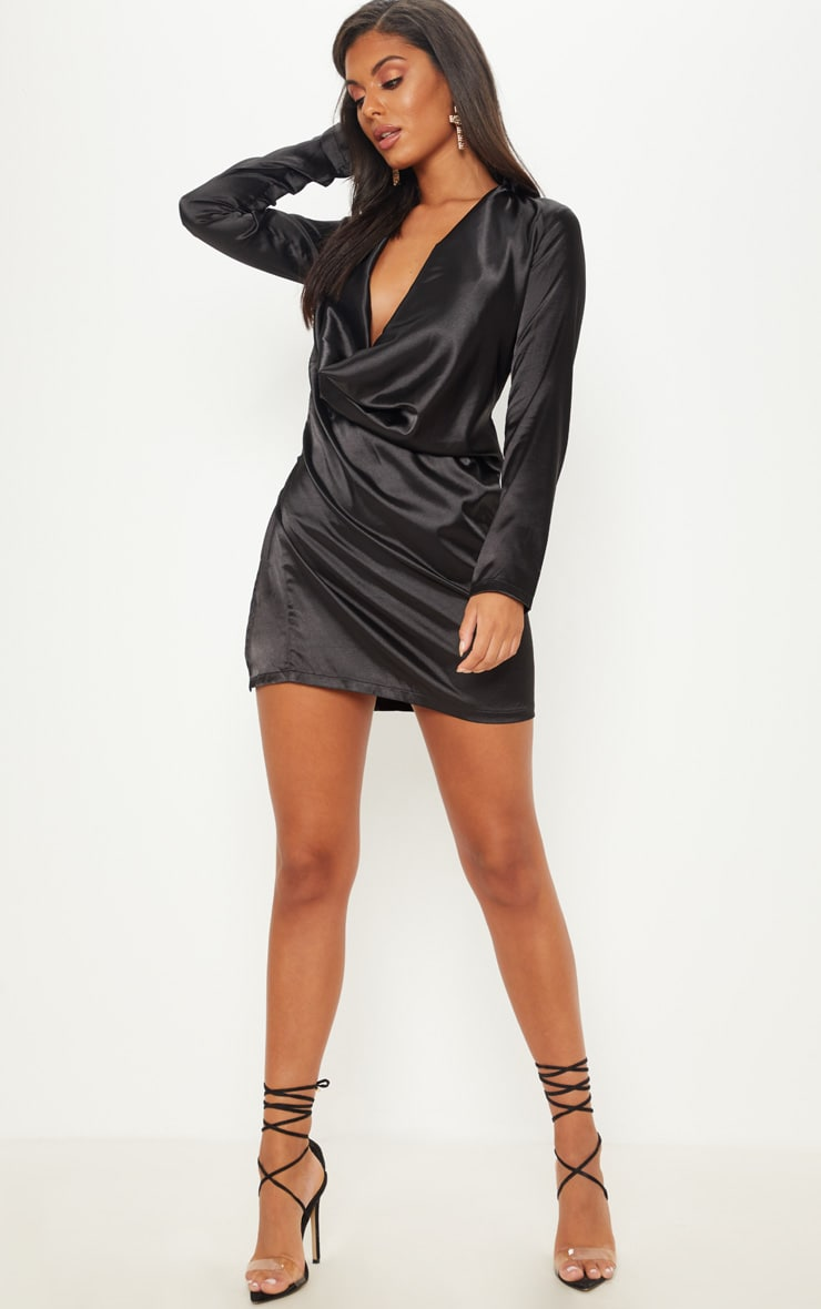 Black Satin Cowl Neck Extreme Open Back Bodycon Dress 3
