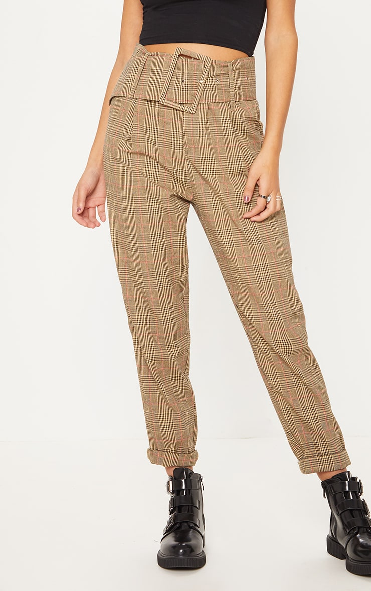 Stone Check Super High Waisted Printed Belted Tapered Trouser 4