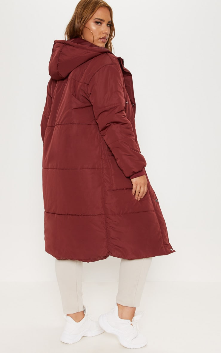 Plus Burgundy Longline Puffer Coat 2