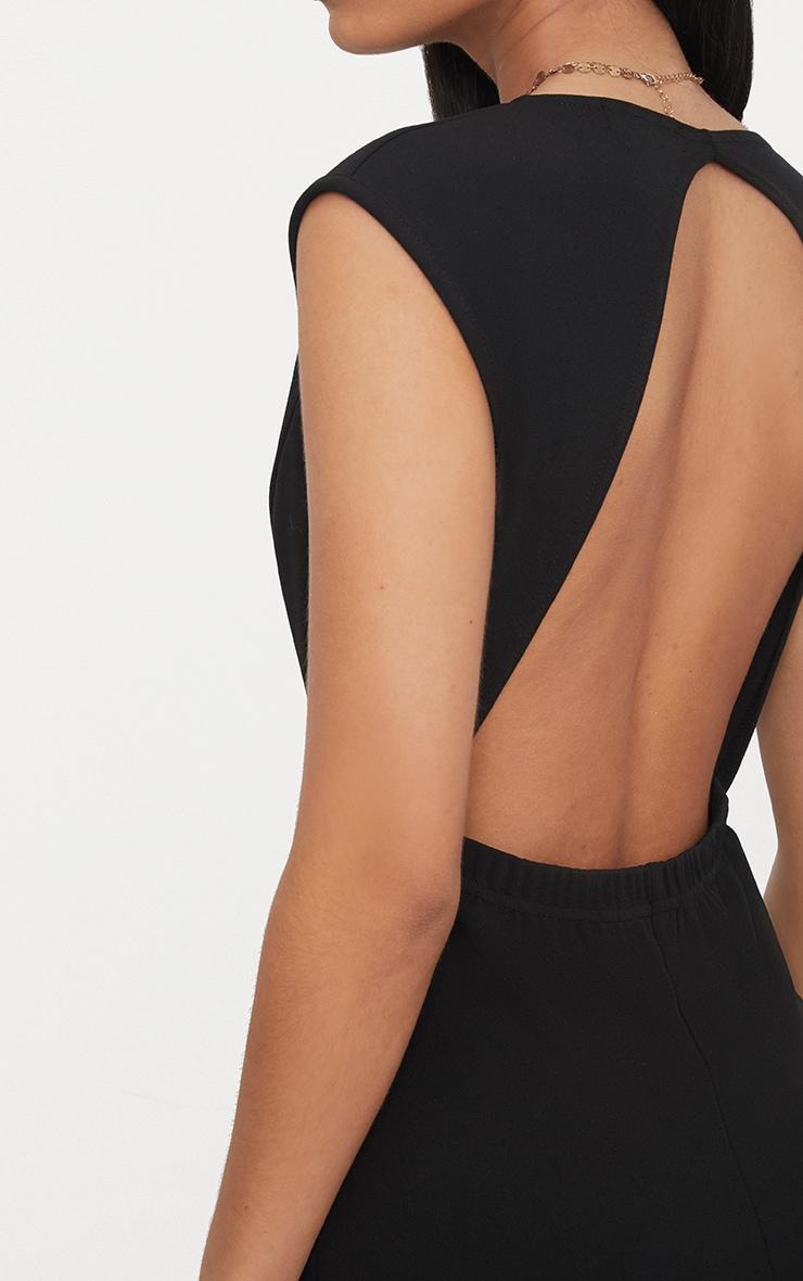 Black Crepe Plunge Open Back Jumpsuit 5