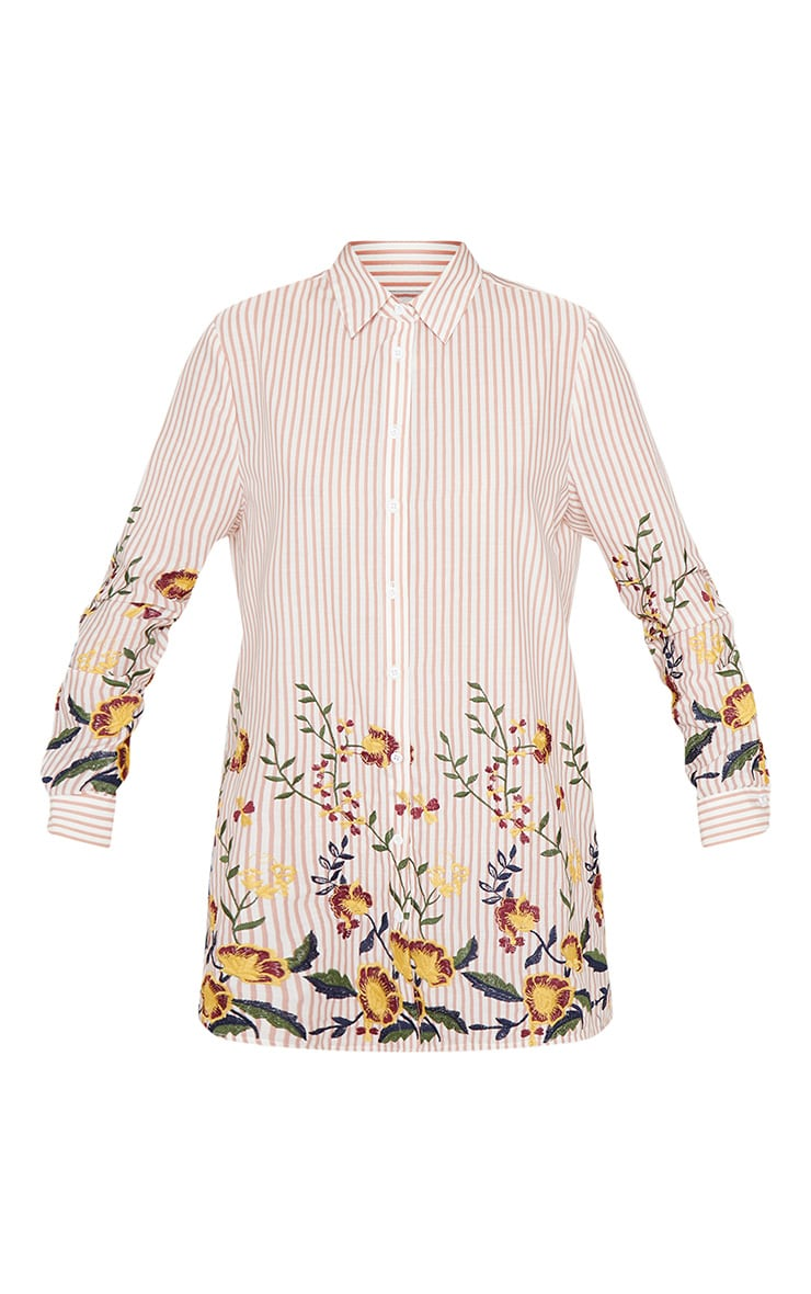 Nude Embroidered Stripe Print Shirt Dress 4