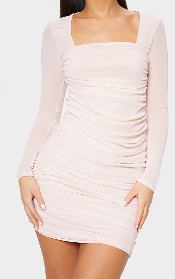 Nude Mesh Long Sleeve Ruched Bodycon Dress image 5 399251912