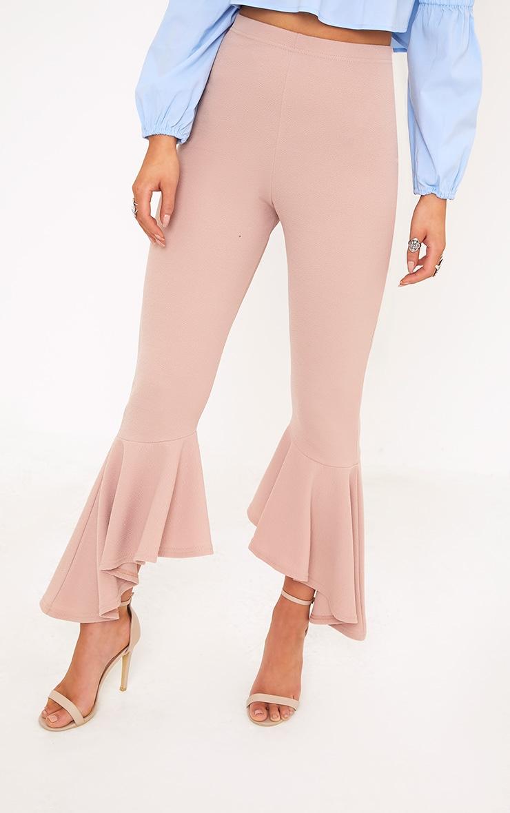 Lourdes Nude Asymmetric Flare Hem Pants 5