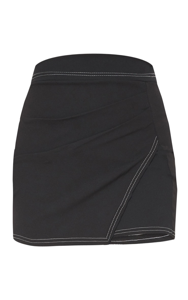 Black Contrast Stitch Wrap Front Mini Skirt 3