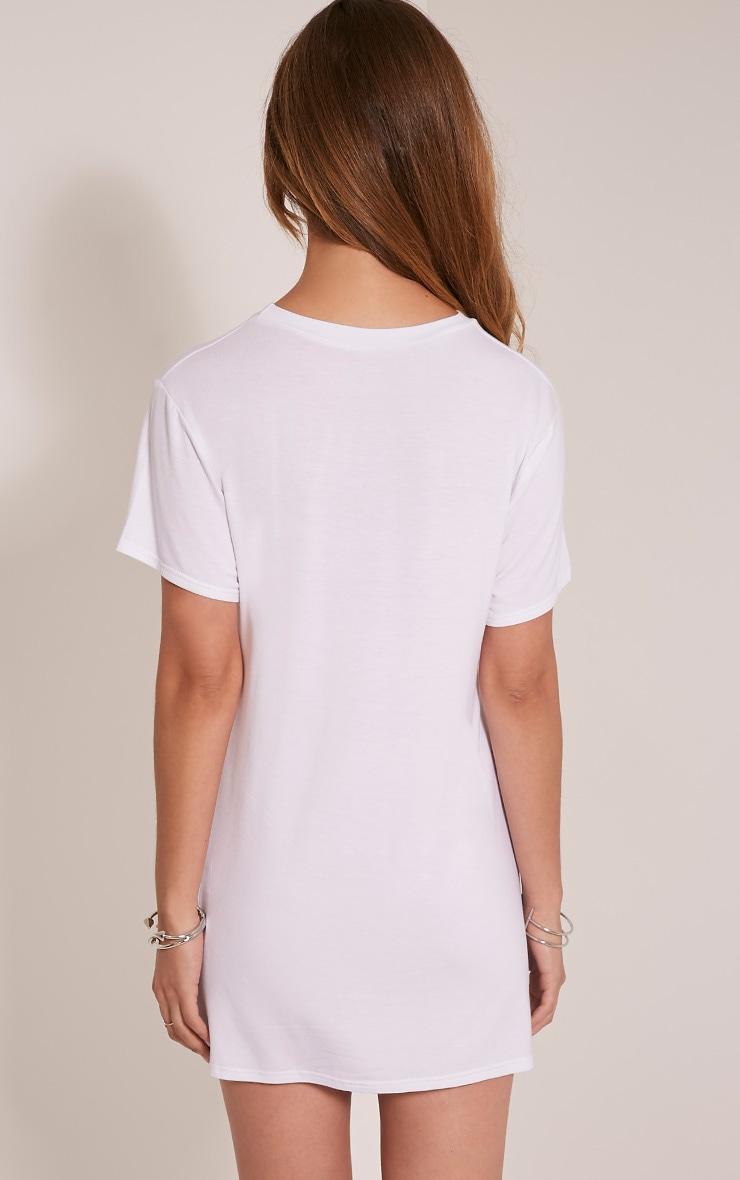 Skull Printed White T Shirt Dress 2