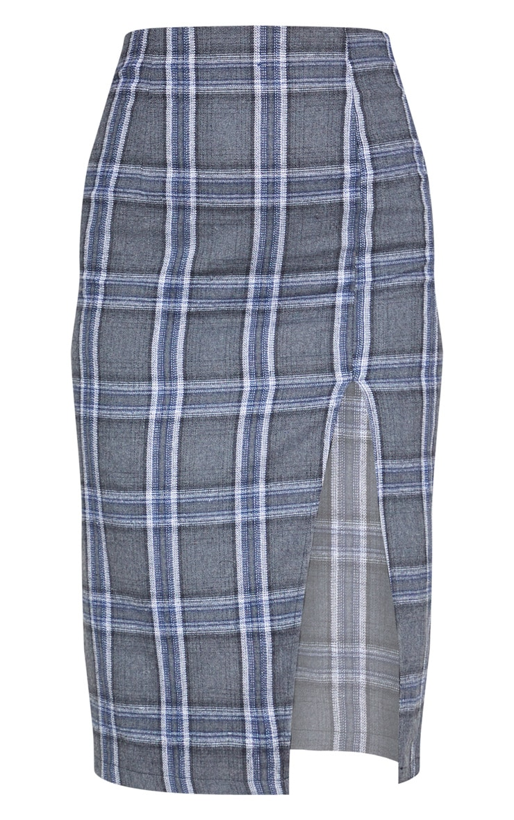 Grey Check Print Extreme Split Midi Skirt 4
