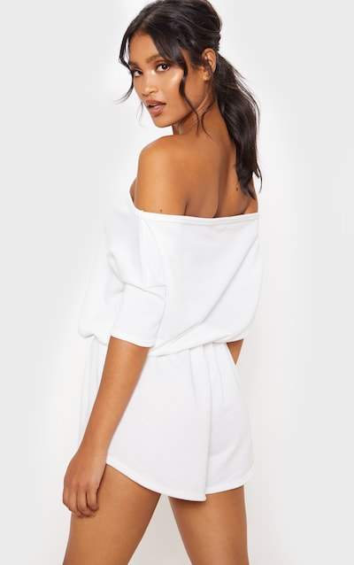 Cream Off The Shoulder Tie Waist Playsuit