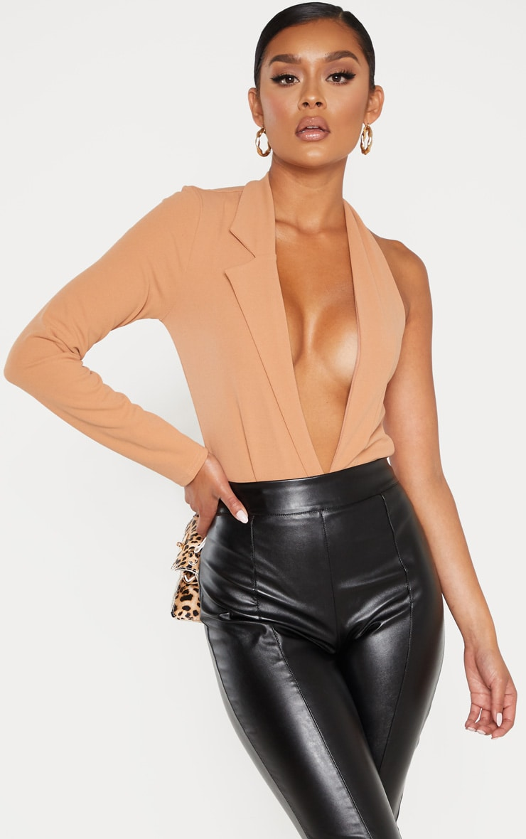 Camel Cut Out One Shoulder Blazer Bodysuit 1