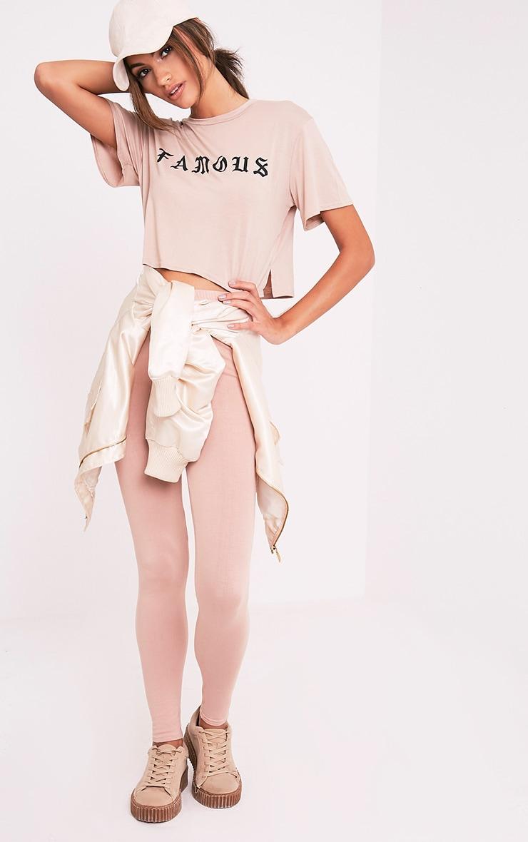 FAMOUS Nude Slogan Crop T Shirt 5