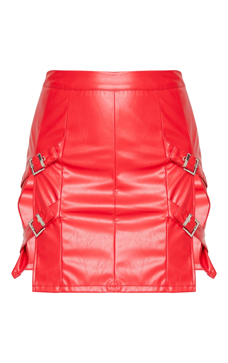 Red Faux Leather Double Buckle Detail Mini Skirt 4