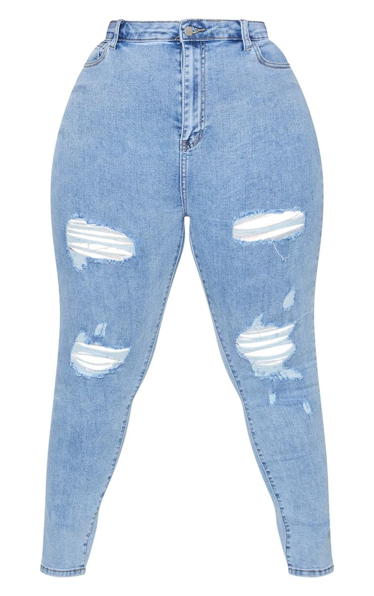 PRETTYLITTLETHING Plus Vintage Wash Distressed 5 Pocket Skinny Jeans 5
