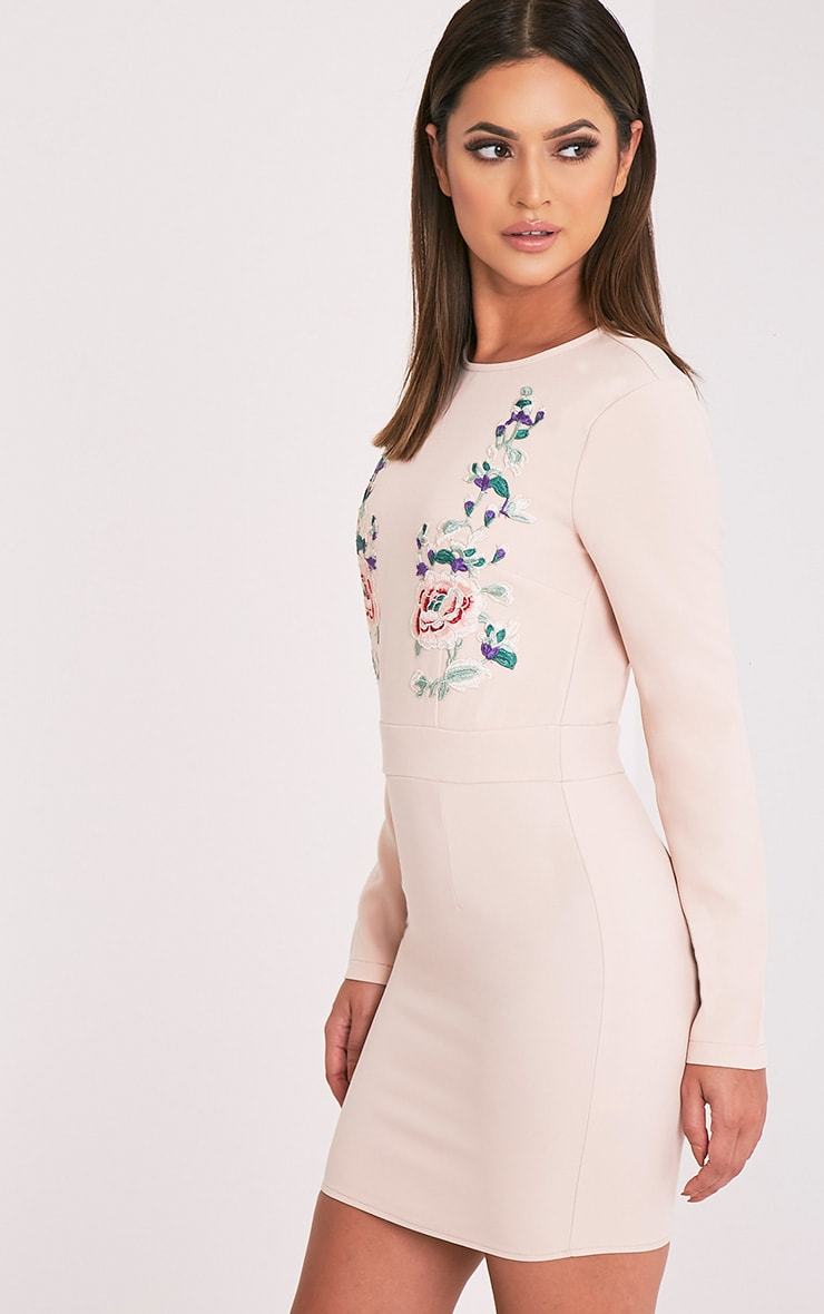 Veronika Nude Embroidered Long Sleeve Bodycon Dress 4