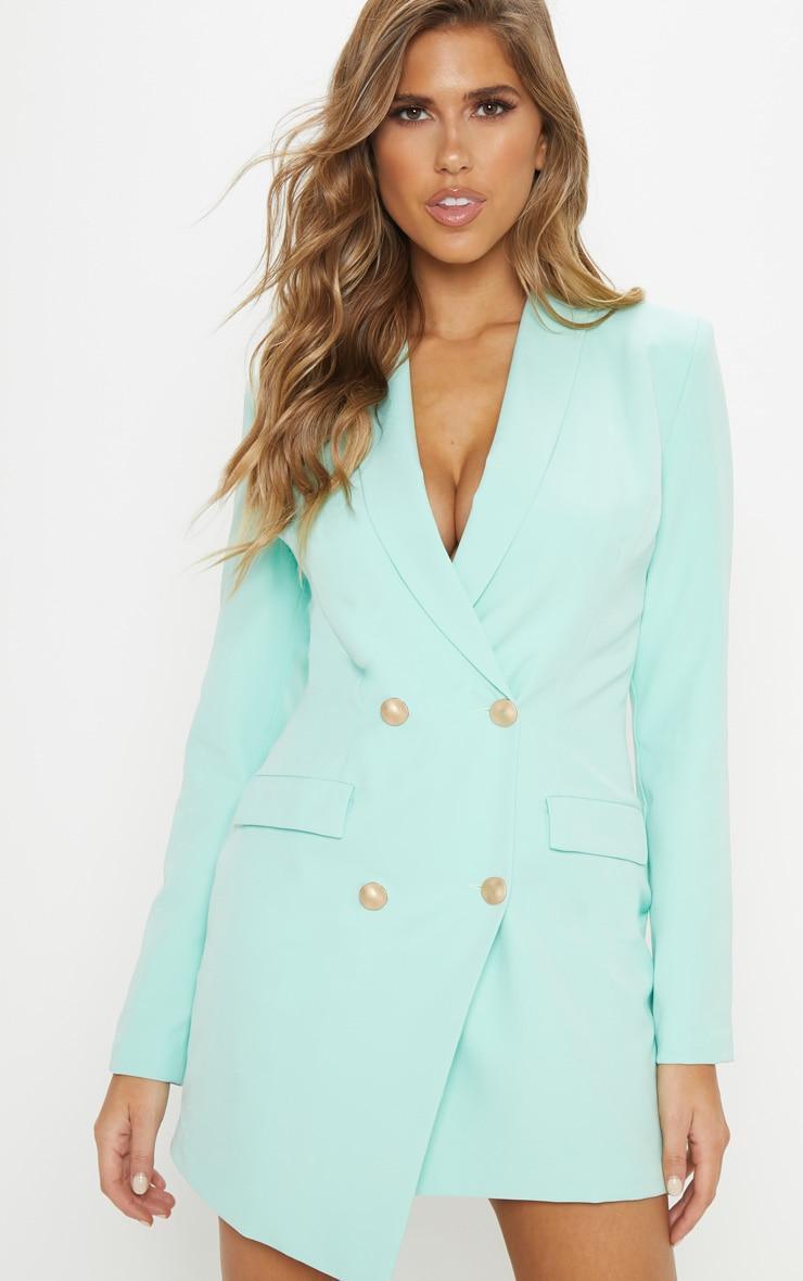 Mint Gold Button Blazer Dress 5