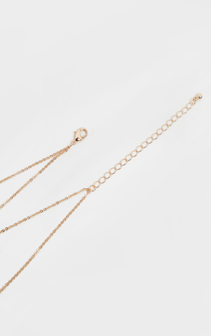 Gold 96 And Rose Pendant Layering Necklace 3