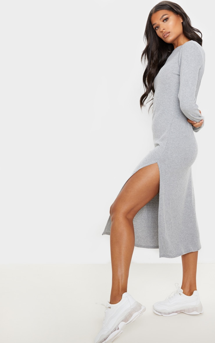 Grey Brushed Rib Long Sleeve Split Hem Midi Dress 4