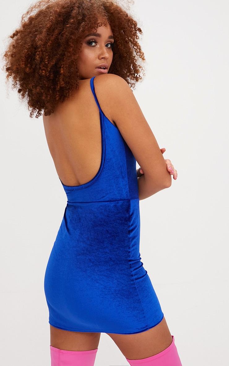 Cobalt Velvet Scoop Back Bodycon Dress 1