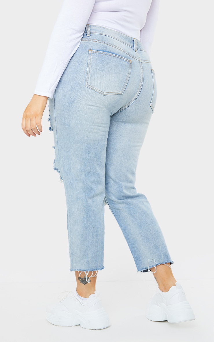 Plus Light Wash Extreme Distressed Mom Jean 3
