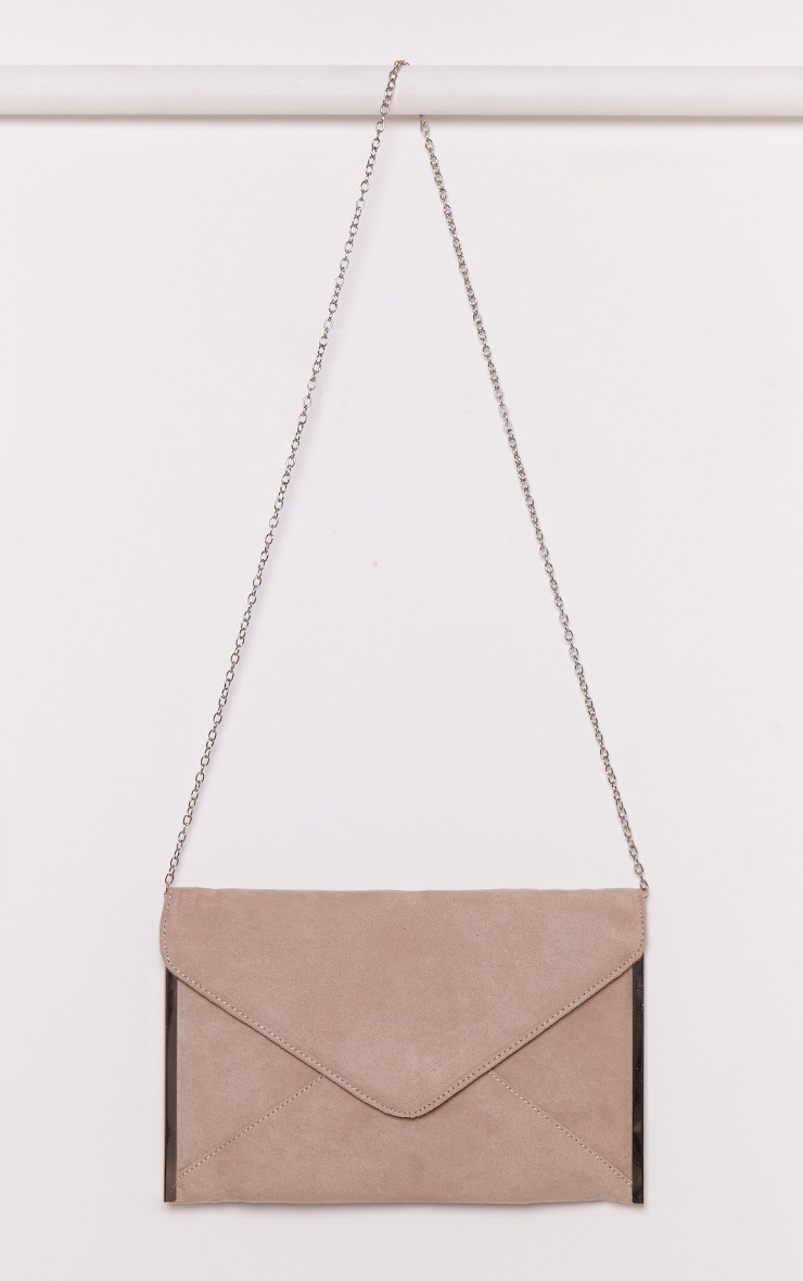 Tassa Nude Faux Suede Envelope Clutch Bag 1