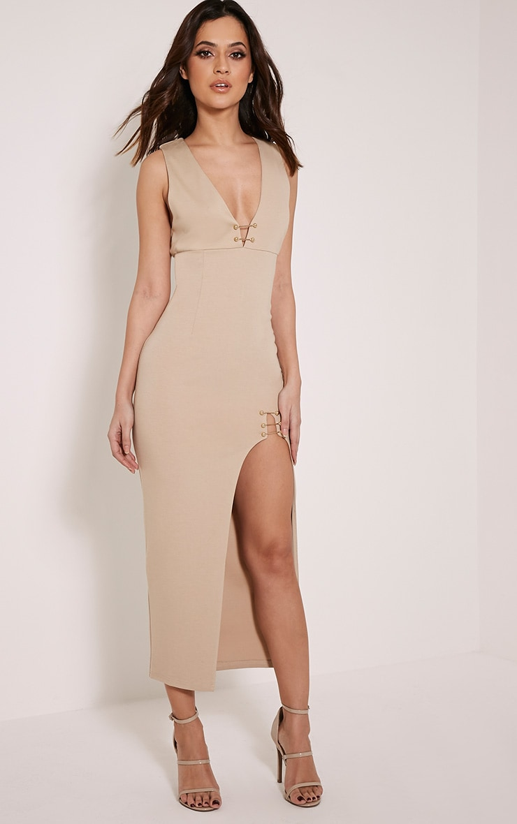 Ally Taupe Pin Detail Plunge Midi Dress 5