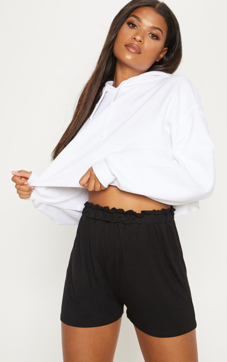 Black Jersey Ruched Waist Short