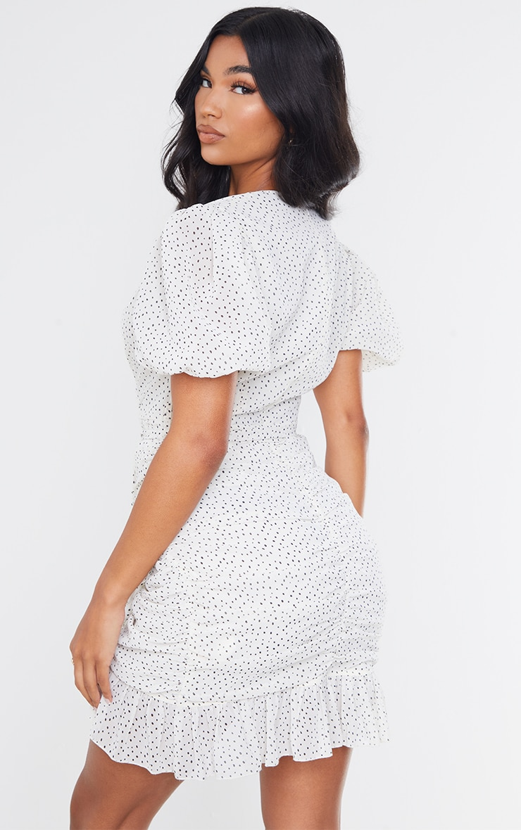 White Polka Dot Chiffon Puff Sleeve Ruched Bodycon Dress 2