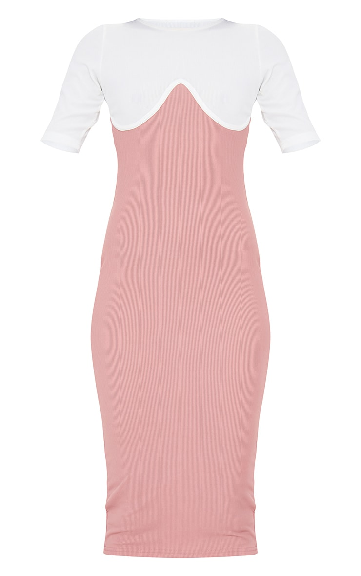 Blush Rib Contrast Bust Detail Midi Dress 5