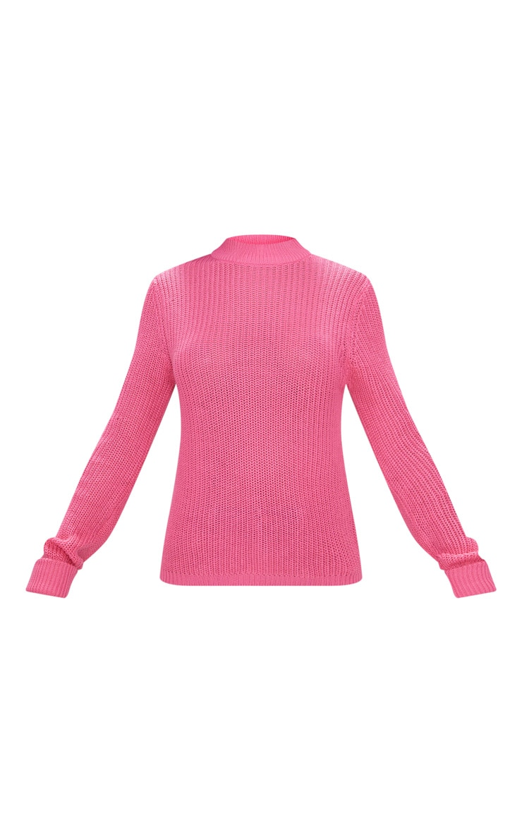 Pink Fisherman Rib Turnback Jumper 3