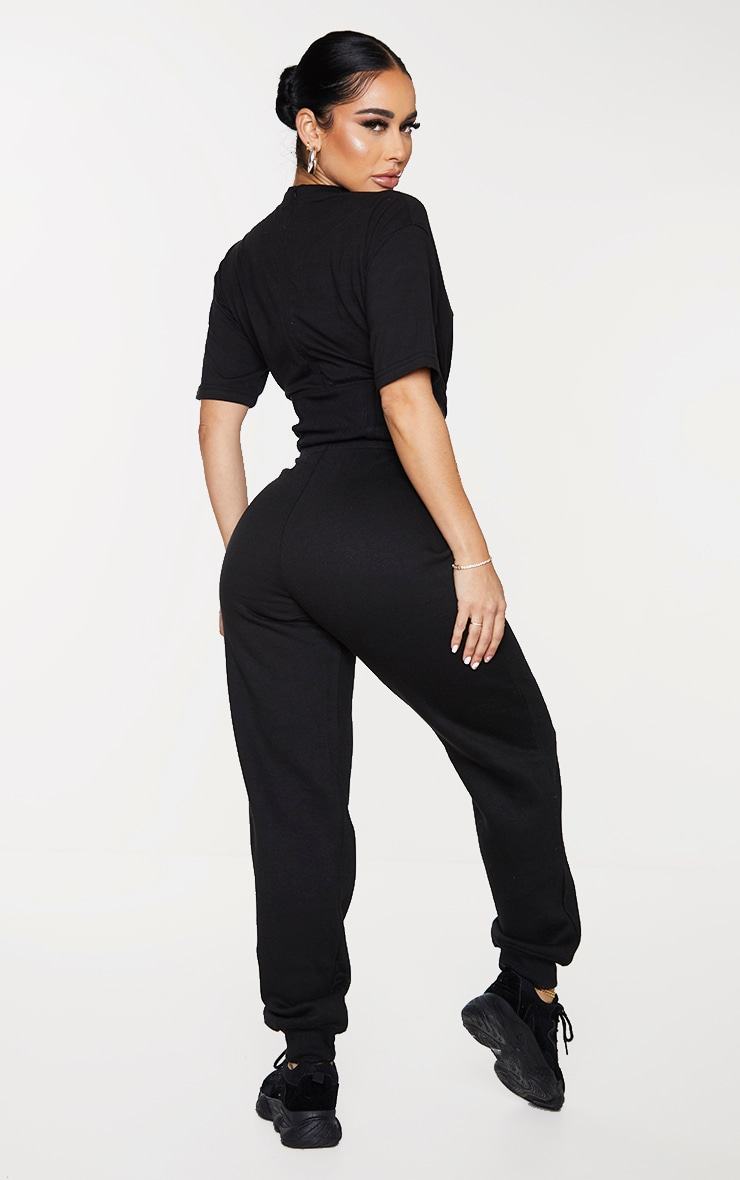 Shape Black Corset Detail Short Sleeve Sweat Jumpsuit 2