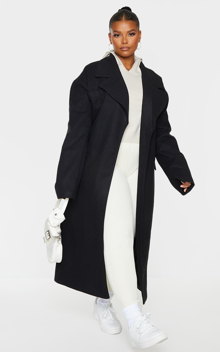 Plus Black Oversized Tie Waist Midi Coat 3