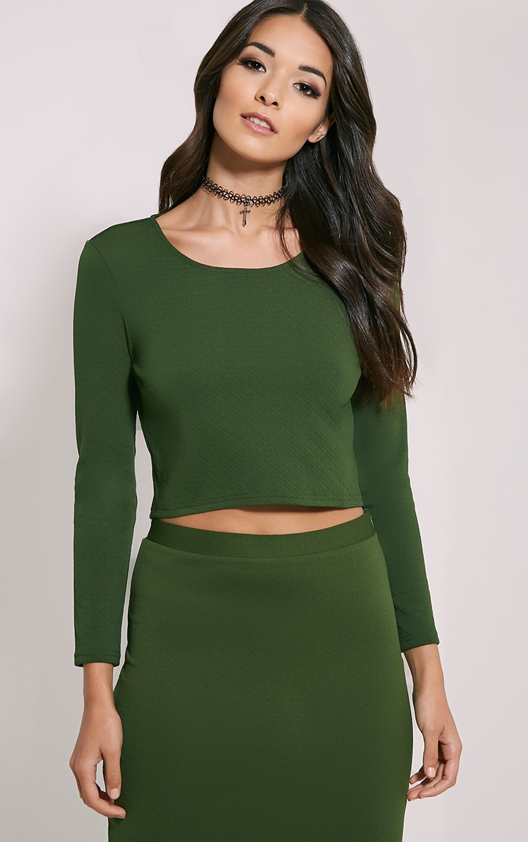 Beulah Green Textured Crop Top 1