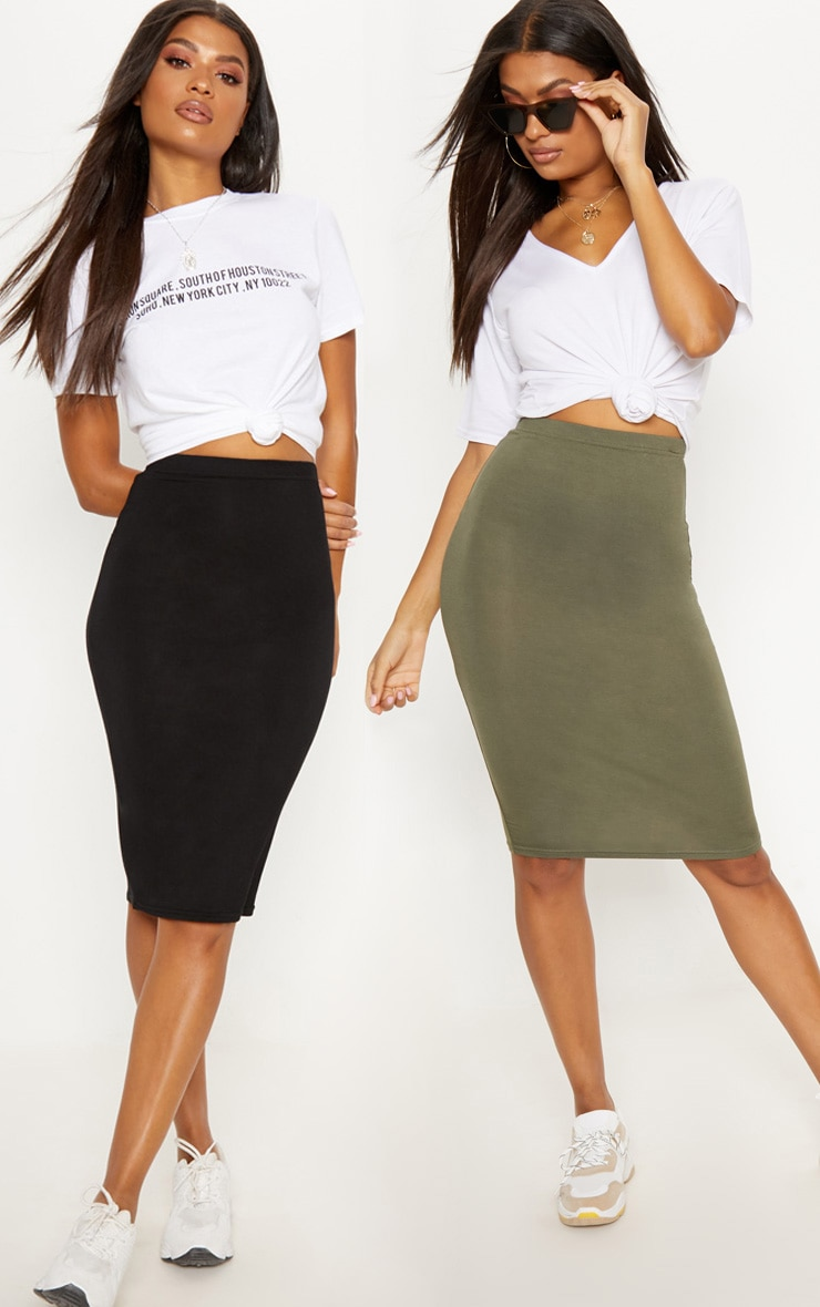 Basic Black & Khaki Jersey Midi Skirt 2 Pack
