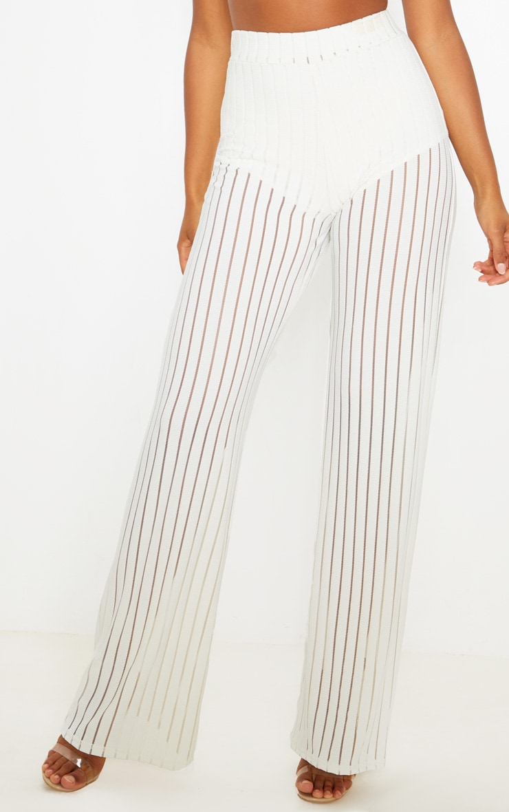 Ecru Mesh Stripe High Waisted Wide Leg Trousers 2