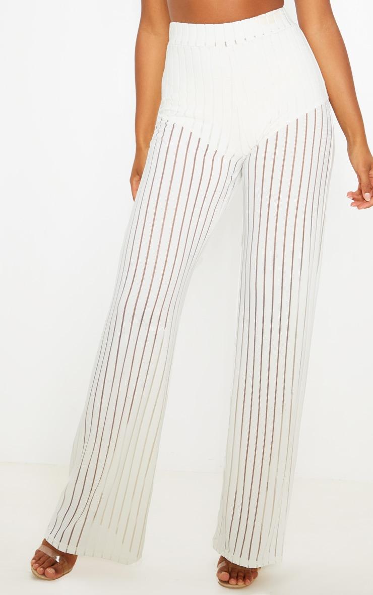 Ecru Mesh Stripe High Waisted Wide Leg Pants 2