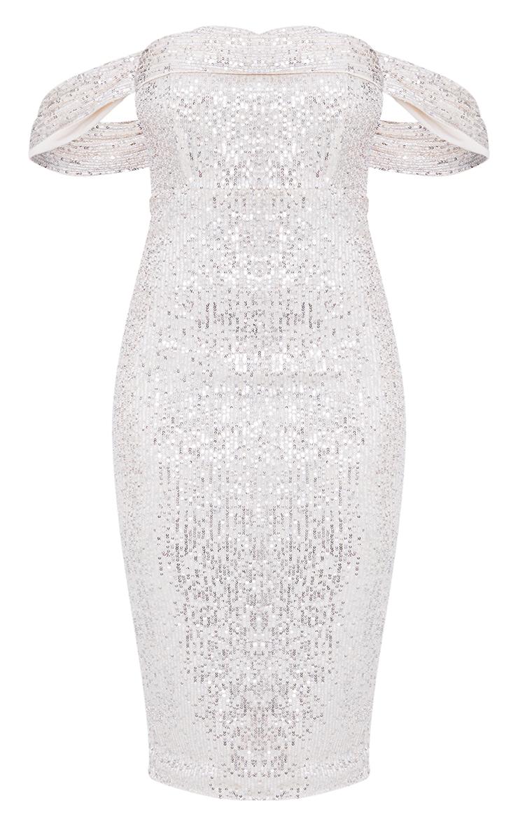 Silver Sequin Drape Bardot Midi Dress 5