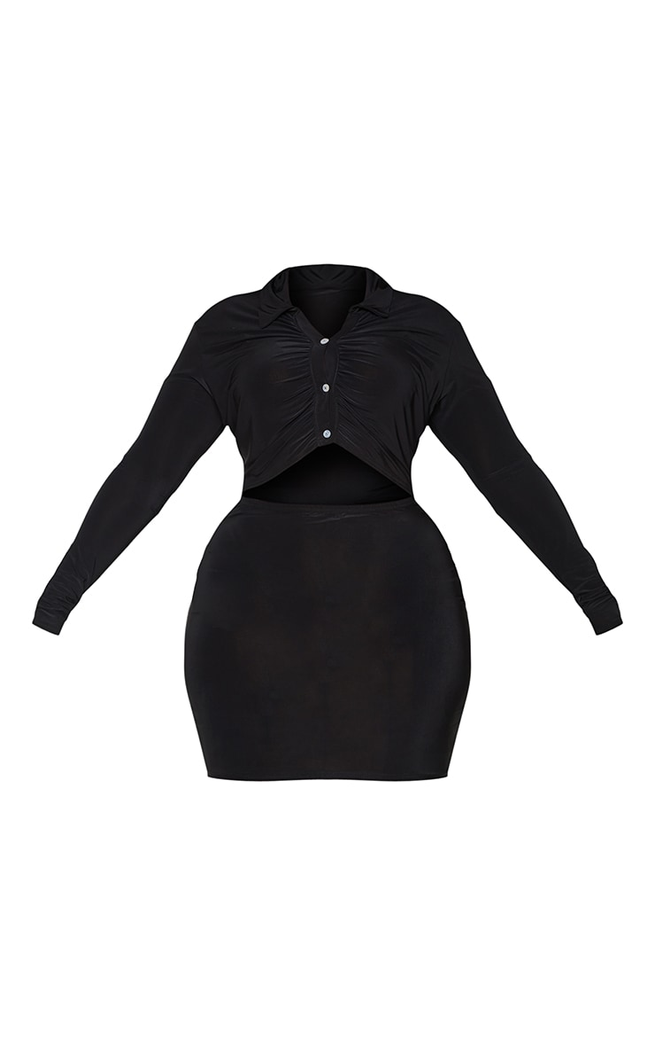 Plus Black Collared Cut Out Long Sleeve Bodycon Dress 5
