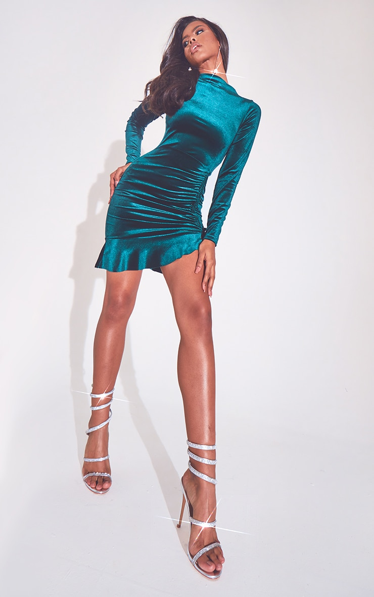 Emerald Green Velvet Ruched High Neck Frill Hem Bodycon Dress 1