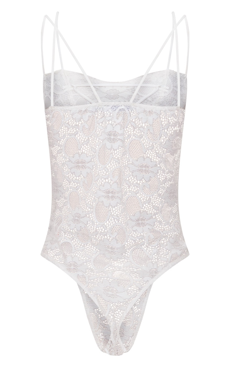 White Lace Detail Double Strap Straight Neck Thong Bodysuit 4