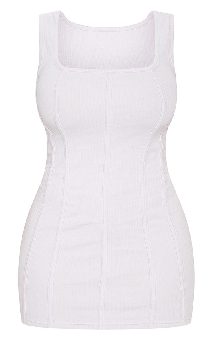 Shape Lilac Thick Rib Seam Detail Bodycon Dress 5