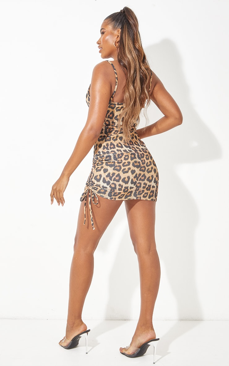 Tan Cowl Neck Leopard Print Ruched Side Bodycon Dress 3