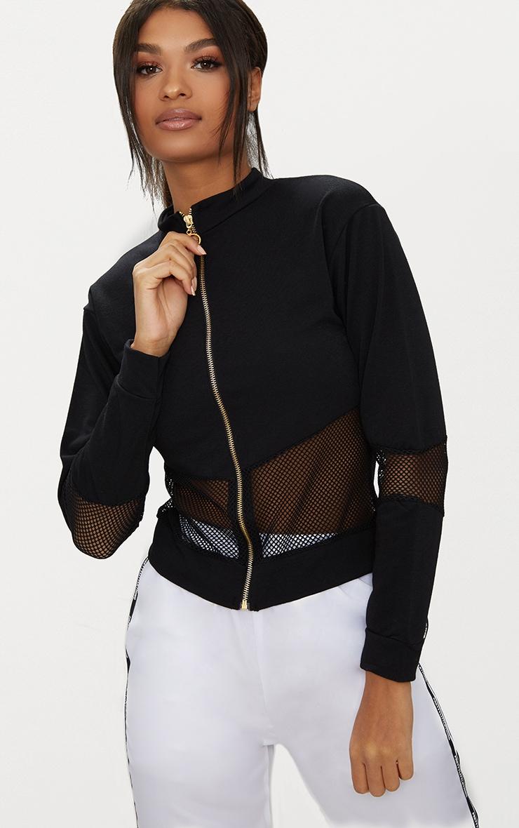 Black Zip Front Tracksuit Jacket 1