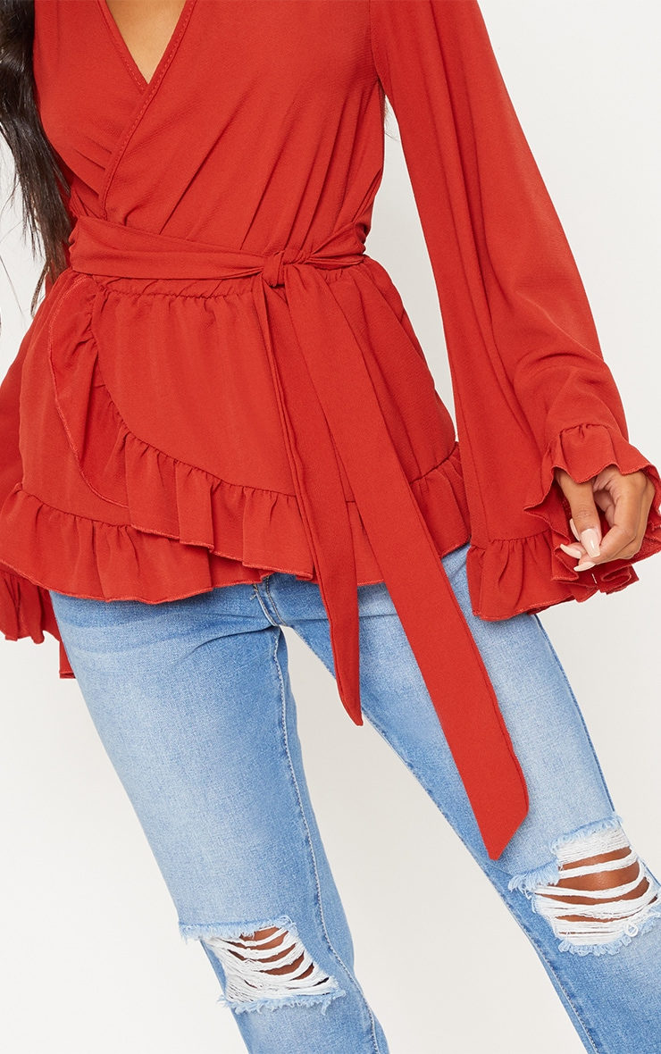 Rust Flared Sleeve Frill Blouse 5