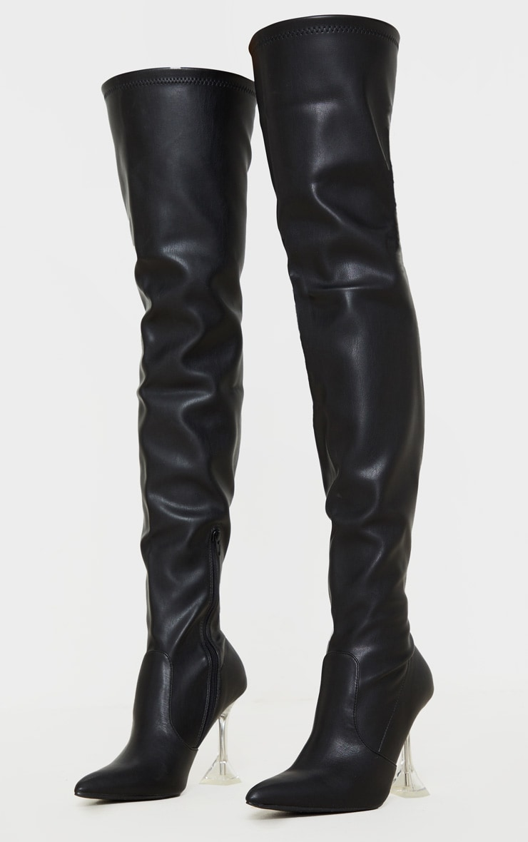 Black Cake Stand Thigh High Slouch Boot 3