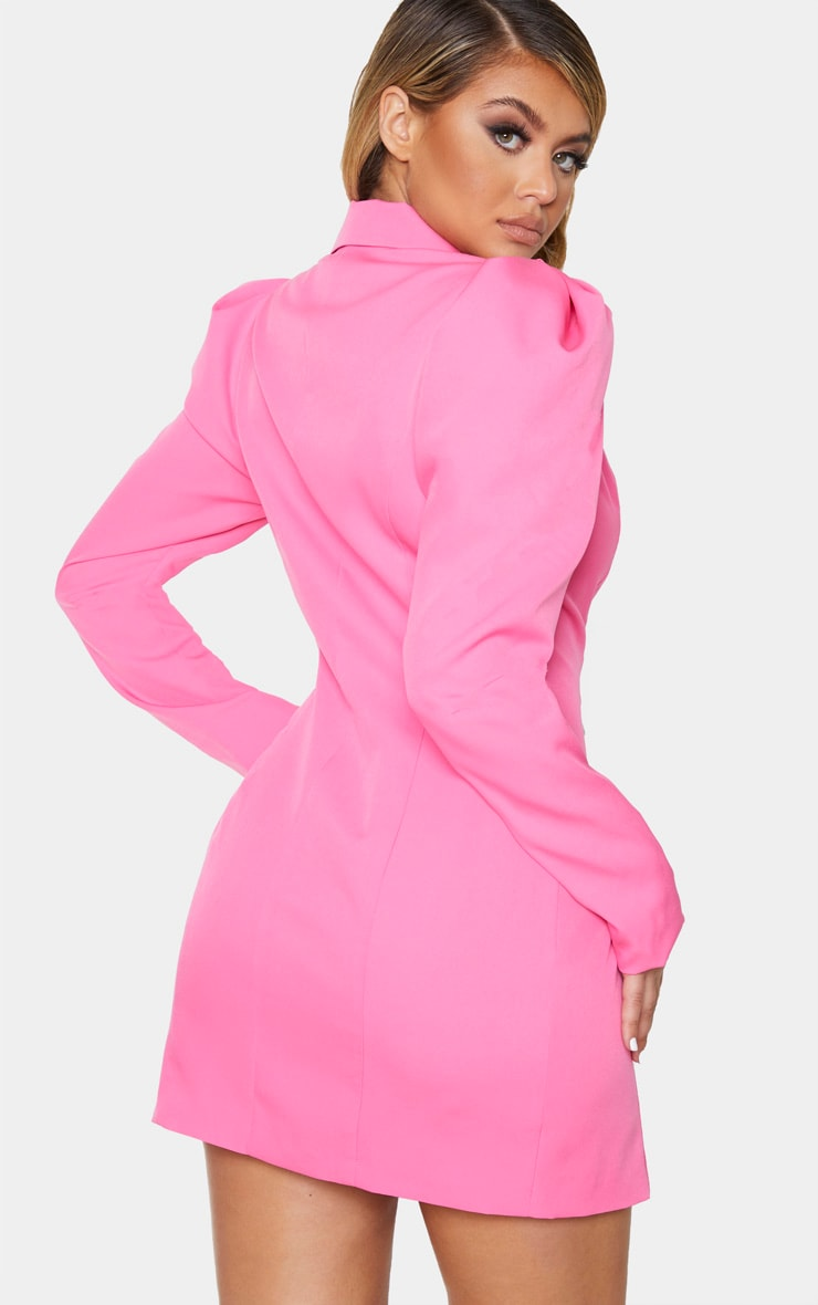 Hot Pink Puff Sleeve Pearl Button Blazer Dress 2