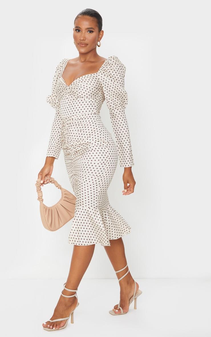 Nude Polka Dot Puff Sleeve Ruched Detail Frill Hem Midi Dress 3