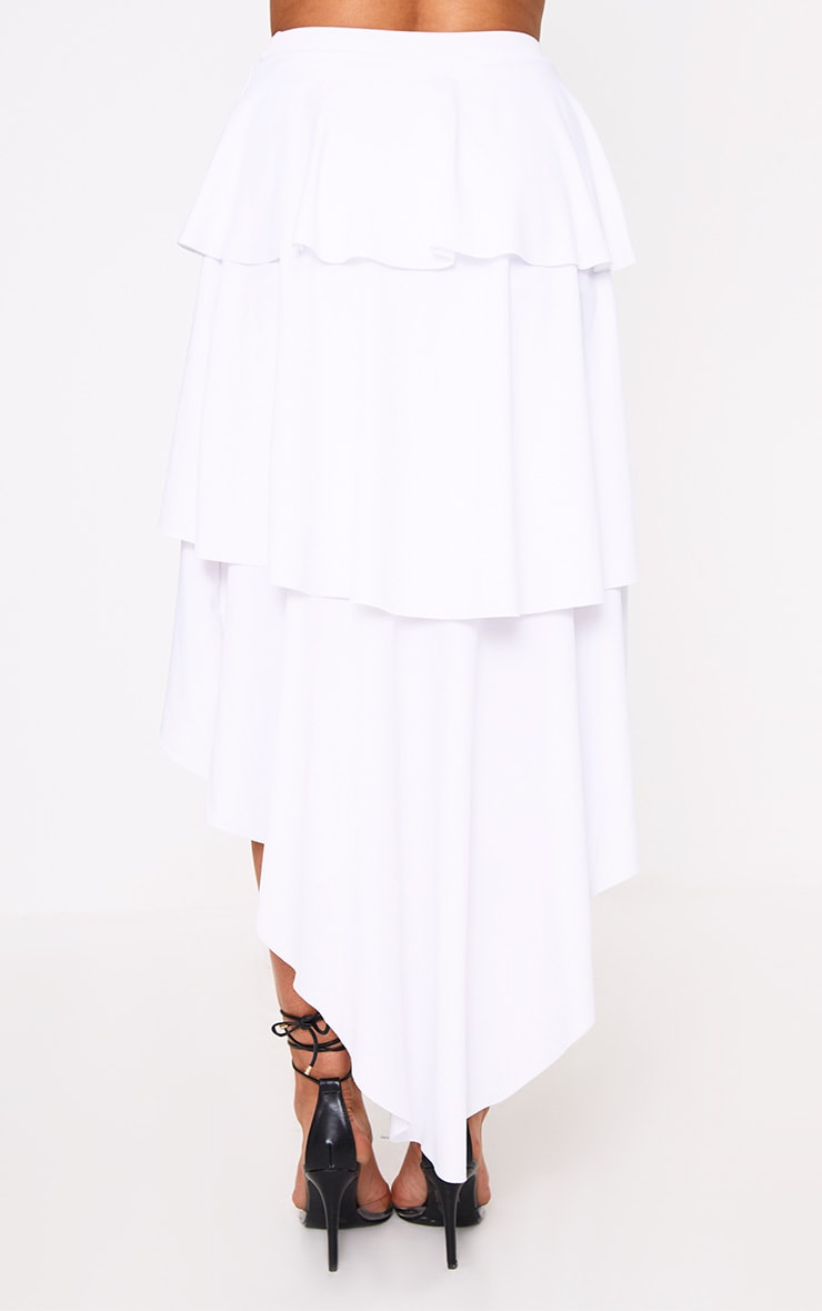 White High Low Tiered Maxi Skirt 4