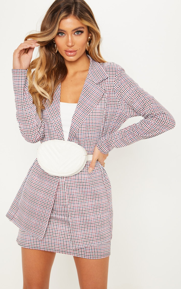 Navy Checked Double Breasted Blazer  1
