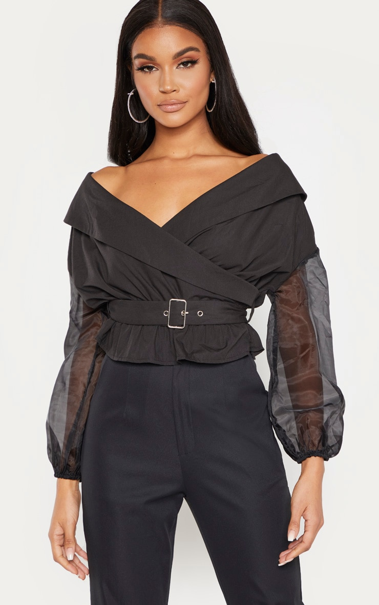Black Bardot Organza Sleeve Crop Top 1
