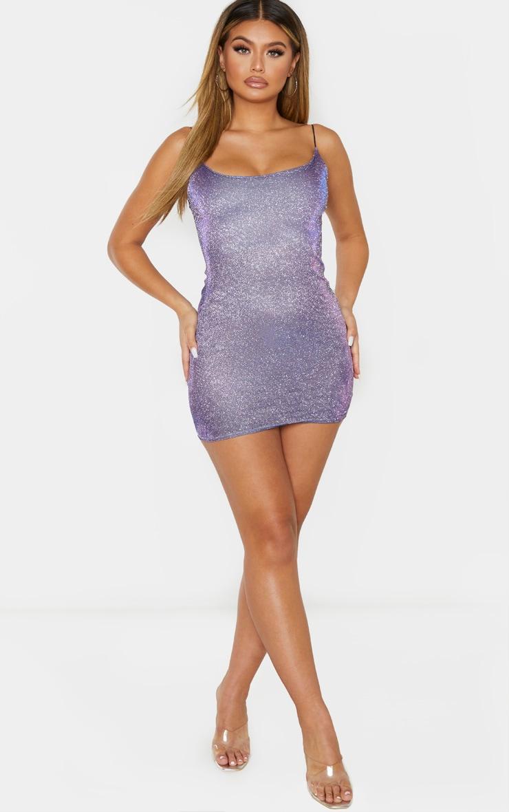 Lilac Irridescent Glitter Strappy Bodycon Dress 4